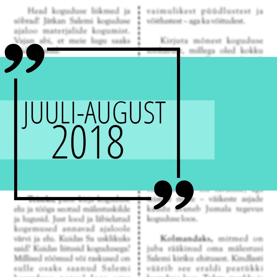 Salemi kuukiri 2018 juuli ja august