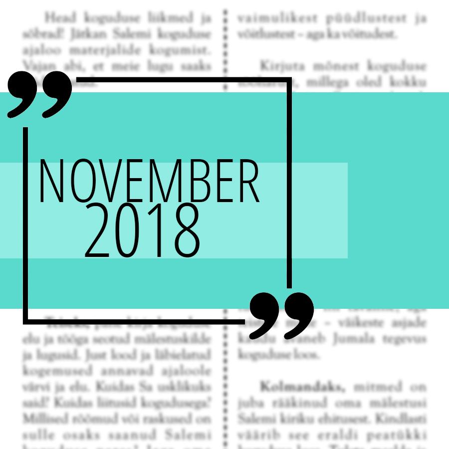 Salemi kuukiri 2018 november